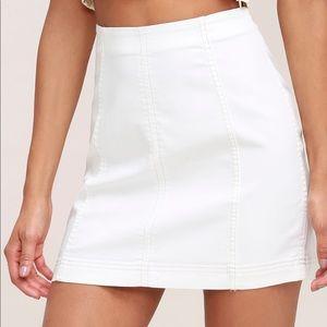 Free People Modern Femme Denim Mini Skirt white